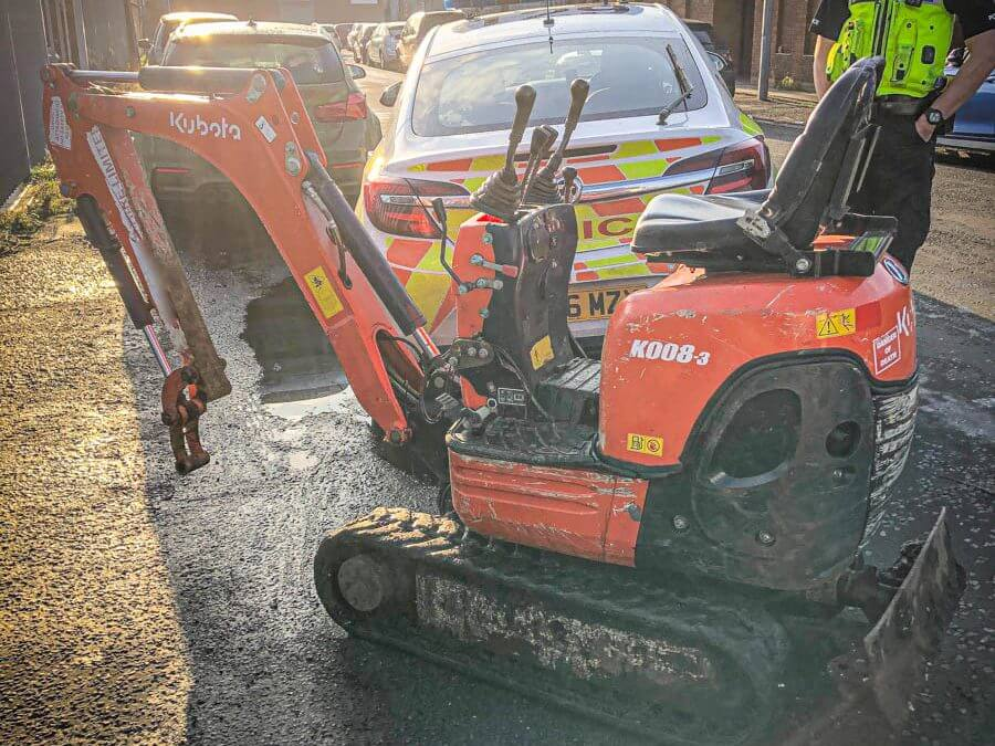 Kubota Micro Excavator stolen and recovered from West Midlands